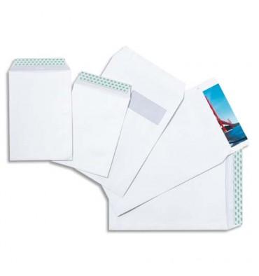 5 ETOILES Boîte de 250 pochettes vélin blanc 90g C4 229 x 324 mm fenêtre 50 x 100 mm auto-adhésives