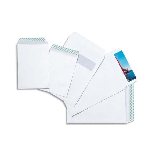 5 ETOILES Boîte de 250 pochettes vélin blanc 90g C4 229 x 324 mm fenêtre 50 x 100 mm auto-adhésives (photo)