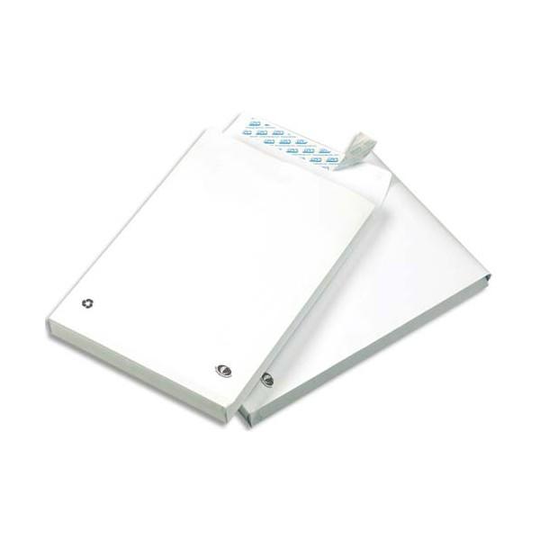GPV Paquet de 50 pochettes kraft blanc auto-adhésives, format 24 260 x 330 mm soufflet 30 mm 120g