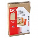 GPV Paquet de 50 pochettes kraft brun auto-adhésives, format 24 - 260 x 330 mm soufflet 30 mm120g