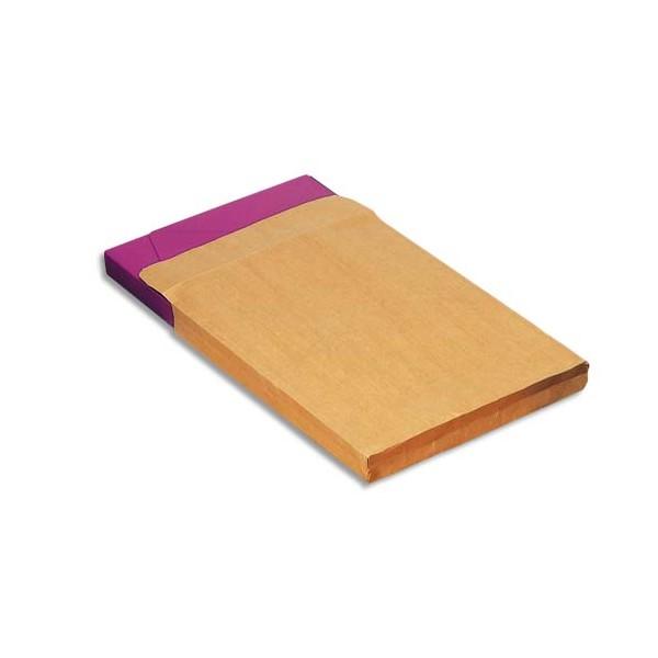 PERGAMY Boîte de 200 pochettes kraft adour soufflets de 3 cm auto-adhésives 120g format 24 - 260 x 330 mm