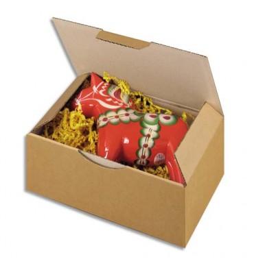 EMBALLAGE Boîte postale en carton simple cannelure havane - Dimensions : 25 x 15 x 10 cm