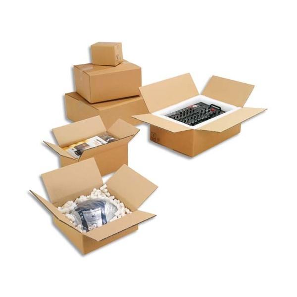 EMBALLAGE Paquet de 20 caisses américaine simple cannelure en kraft écru - Dimensions : 60 x 40 x 40 cm
