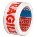 "TESA Ruban polypropylène blanc imprimé rouge ""Fragile"" 48 microns, format 50 mm x 66 m"