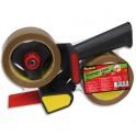 SCOTCH Pack dévidoir d'emballage métal avec frein réglable et 2 rouleaux adhésifs havane
