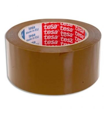 TESA Adhésif d'emballage polypropylène sans solvant silencieux havane 45 microns, format 50 mm x 100 m