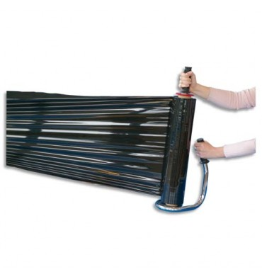 EMBALLAGE Rouleau de film étirable manuel cast noir 17 microns - Mandrin 7,6 cm, 45 cm x 300 m