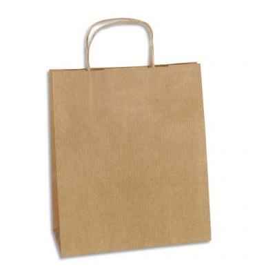 EMBALLAGE Paquet de 100 sacs kraft brun à poignée - 25 x 32 x 9 cm