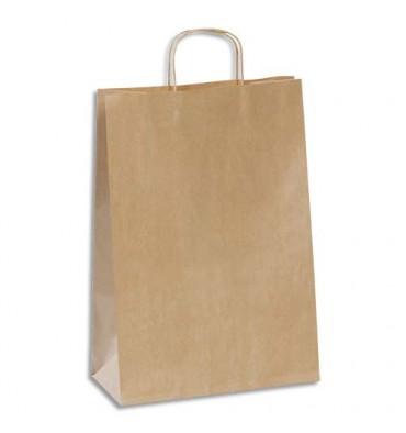 EMBALLAGE Paquet de 100 sacs kraft brun 110g à poignée torsadées - 30 x 42 x 13 cm