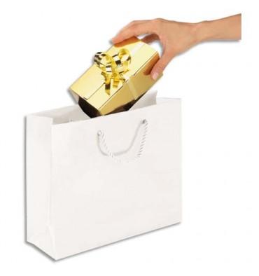 EMBALLAGE Paquet de 25 sacs pelliculés blanc avec poignées cordelières assorties 30 x 25 x 10 cm