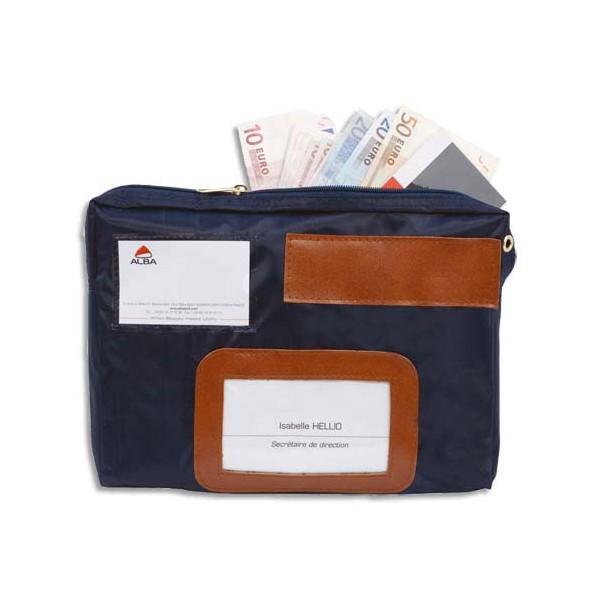 ALBA Pochette navette de caisse bleue en PVC à soufflet dimensions : 27 x 18,5 x 4 cm (photo)