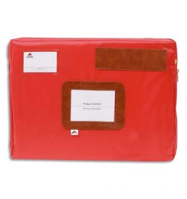 ALBA Pochette navette rouge en PVC à soufflet dimensions : 42 x 32 x 5 cm
