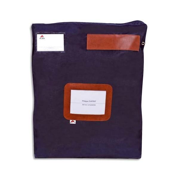 ALBA Pochette navette bleue grand modèle en PVC à soufflets dimensions : 40 x 50 x 5 cm