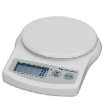 MAUL Pèse-lettres MAUL alpha à pile plastique portée 5 kg - Plateau diamètre 12 cm, 13,7 x 3,6 x 18,8 cm blanc