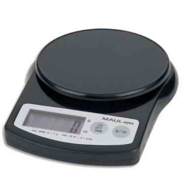 MAUL Pèse-lettres MAUL alpha à pile plastique portée 2 kg - Plateau diamètre 12 cm, 13,7 x 3,6 x 18,8 cm noir