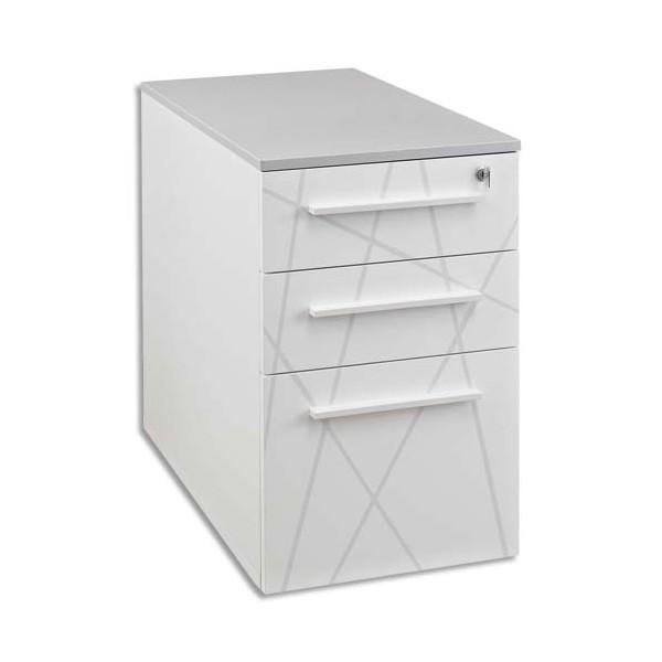 Gautier caisson hauteur de bureau blanc graphique 3 tiroirs serrure sunday 45x71x80cm - Serrure mobilier de bureau ...