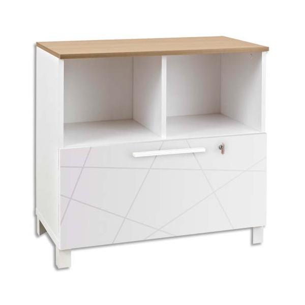Gautier rangement bas blanc sunday 2 cases 1 tiroir blanc for Rangement tiroir blanc