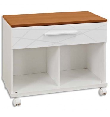 GAUTIER Rangement bas mobile blanc SUNDAY,1 tiroir blanc graphique, 2 cases SUNDAY 80x59x42cm