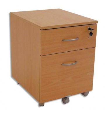 SIMMOB Caisson mobile 2 tiroirs dont 1 pour dossiers suspendus coloris hêtre - L41 x H56 x P50 cm